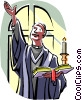 Vector Clip Art graphic  of a Religious ceremony Priest with