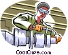Vector Clipart graphic  of a machine shop worker