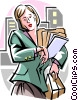businesswoman running late Vector Clip Art graphic
