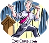 man making a presentation Vector Clipart illustration
