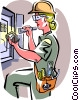 Vector Clip Art image  of a electrician