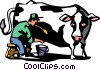 Vector Clip Art image  of a farmer milking a cow