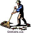 Vector Clipart graphic  of a raking leaves