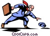 Vector Clipart illustration  of a businessman losing his hat in