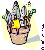 city buildings in a flower pot Vector Clipart illustration