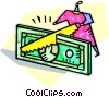 Vector Clip Art image  of a handsaw cutting costs