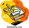 Vector Clip Art graphic  of a paint tray with roller