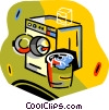 Vector Clip Art image  of a dryer and clothes basket
