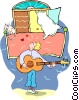 guitar player Vector Clipart image