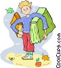 boy standing with books Vector Clip Art image