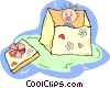 Vector Clipart image  of a baby in a box