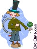 Vector Clipart illustration  of a child with a four leaf clover