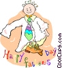 Vector Clip Art image  of a Boy dressed up in his fathers