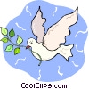 white dove with an olive branch Vector Clip Art graphic