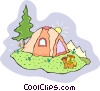 Vector Clipart picture  of a camping in a tent