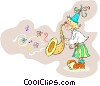 Vector Clip Art graphic  of a clown playing the saxophone