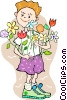 Vector Clip Art graphic  of a Boy with flowers
