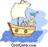 Vector Clip Art image  of a boy sailing in a boat