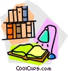 open book under a lamp Vector Clipart image