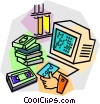 renting a movie at the video store Vector Clipart graphic