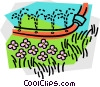 Vector Clipart illustration  of a soaker hose watering the lawn