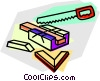Vector Clipart picture  of a handsaw and miter box