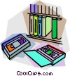 Vector Clipart illustration  of a video tape library