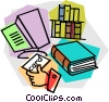 Vector Clipart picture  of a checking out a book from the