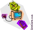 television with remote control Vector Clip Art image