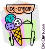 Vector Clipart illustration  of a ice cream stand with ice cream