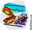 hot dogs on the barbecue Vector Clipart picture