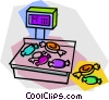Vector Clip Art graphic  of a candy on a scale