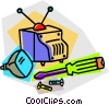 Vector Clip Art graphic  of a television repair