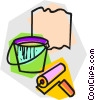 paint can and roller Vector Clip Art graphic