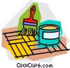 Vector Clipart image  of a varnishing the hardwood floor