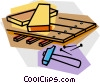 Vector Clipart graphic  of a lumber with hammer and nails