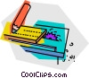 table saw cutting a board Vector Clipart illustration