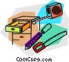 Vector Clip Art graphic  of a tools and a chest of drawers