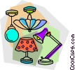 Vector Clip Art image  of a lights and lamps