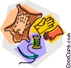 leather gloves Vector Clipart illustration