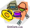 Vector Clip Art image  of a hats with sales tags