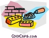 Vector Clipart image  of a bricks with trowel and cement