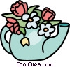 teapot with flowers Vector Clipart illustration