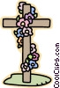 cross with flowers Vector Clipart graphic