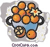 Vector Clip Art image  of a Basket of oranges