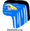 Vector Clipart image  of a businessman swimming against