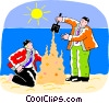 businessman building a sand castle Vector Clipart illustration