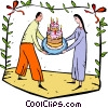 couple with a cake Vector Clipart picture