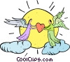 angels with hearts Vector Clip Art picture