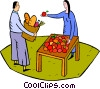 Vector Clip Art image  of a fruit stand